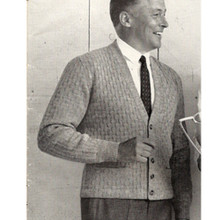 Mans Knitted Cardigan Pattern, Vintage 1950