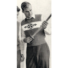 Mans Vintage Sleeveless Pullover Knitting Pattern