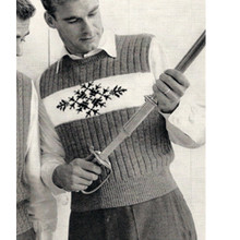 Mans Vintage Knitting Pattern, Sleeveless Pullover with Motif Band