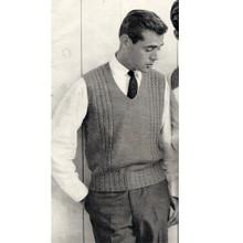 Mans Knitted Pullover Vest Pattern, Vintage 1950s