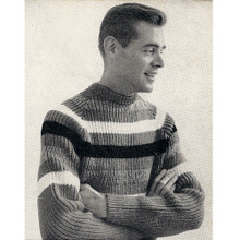 Vintage Knitting pattern, Mens striped pullover pattern
