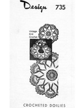 Crochet Flower Doily pattern, large small, Mail Order 735
