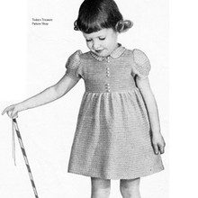 Vintage crochet pattern for girls dress with pull sleeves
