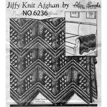 Jiffy Knitted Afghan Pattern No 6236 from Alice Brooks