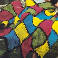 Beginners Knitted Block Afghan pattern on  big needles