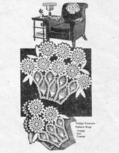 Daisy Basket Chair Doily Pattern Set, Mail Order 629