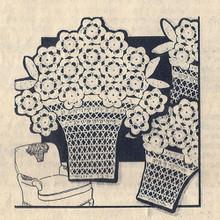 Vintage Crochet Flower Basket with Daises Pattern Set