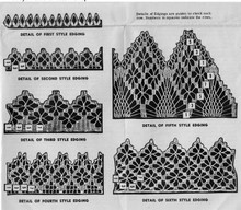 Six vintage crochet edgings pattern