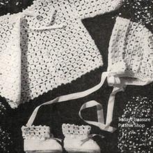 Pink White Baby Crocheted Set Pattern