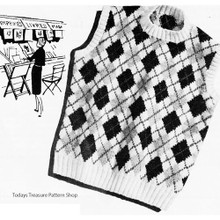 Vintage Argyle Shell Knitting Pattern