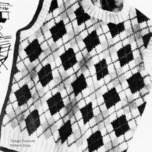 Argyle Shell Knitting Pattern, Vintage 1960s