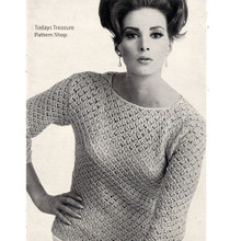 Womans Knitting pattern Long Sleeve Pullover Blouse