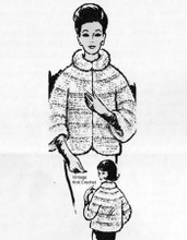 Knitted Mohair Jacket Pattern, Shawl Collar Design 651