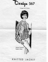 Knitted Cable Sweater Jacket Pattern, Mail Order 567