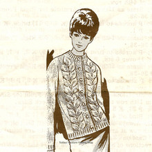 Knitted Leaf Panel Cardigan Pattern, Mail Order 511