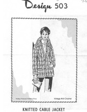 Cable Knit Jacket Pattern, Mail Order 503