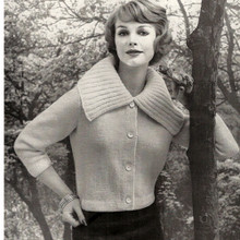 Large Collar Cardigan Knitting Pattern has three quarter sleeves