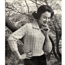 Vintage Knitting Pattern, all-over cable cardigan, waist length