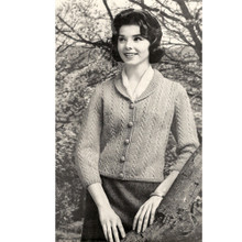 Knitting Pattern Cable Cardigan with Small Collar