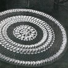 Crochet Sundial Round Rug pattern, Vintage 1940s