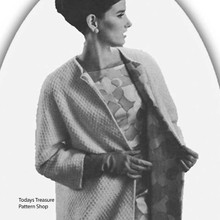 Collarless Coat Knitting pattern, vintage 1960s
