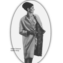 Vintage Coat Knitting Pattern, Knee Length