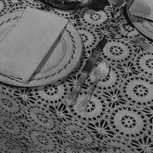 Vintage Tablecloth Crochet Pattern of Round Spun Sugar Medallions