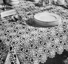 Vintage Flower Medallion Tablecloth Pattern