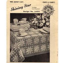 Crochet Shining Star Block Pattern for Tablecloth, Leaflet C-674