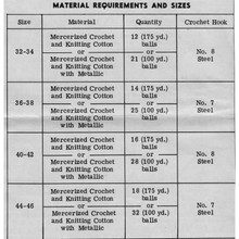 Crochet Material Requirements for  Design 7087