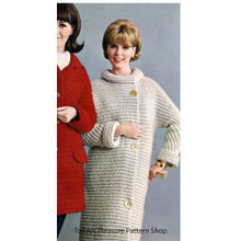 Womans Crochet Coat Pattern with Roll Collar