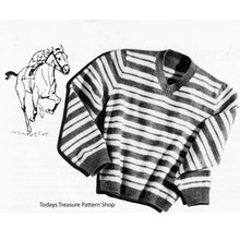 Knitting Pattern Striped Stable Boy Pullover