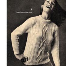 Vintage Aran Pullover Knitting Pattern