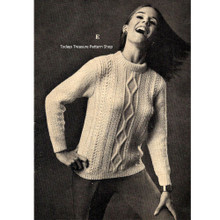 Aran Knitted Pullover Pattern in Germantown Knitting Worsted