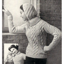 Knitted Hooded Pullover Pattern in Zig Zag