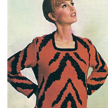 Vintage Crochet Tunic Pattern in Tiger Print