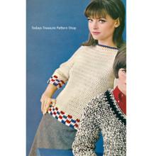 Crochet Raglan Pullover Pattern, Vintage 1960s