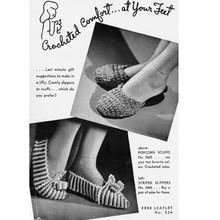 Crochet Slippers Pattern Leaflet Spool Cotton L-534