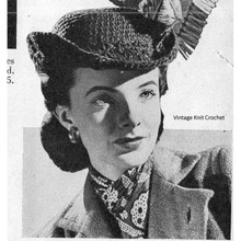 Crocheted Riding Hat Pattern with Felted Yarn, Vintage 1944