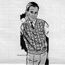 Cabled Mans Sleeveless Pullover Pattern