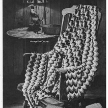 Vintage Knit Ripple Afghan Pattern, W-690