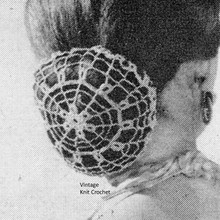 Crocheted Lace Chignon Pattern, Vintage 1950s