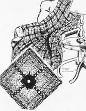 Crochet Afghan, Tri-Color Squares, pattern