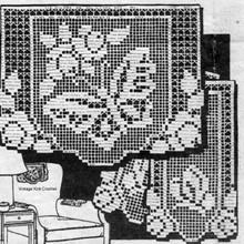 Filet Crochet Butterfly Roses Pattern No 3558