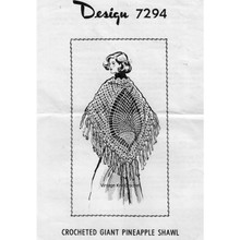 Large Pineapple Crocheted Shawl Pattern, Mail Order 7294