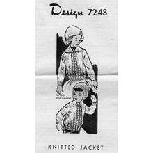 Childs Cable Jacket Knitting Pattern, Mail Order 7248