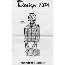 Easy Crochet Jacket Pattern, Mail Order 7374, in lace blocks.