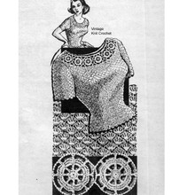 Mail Order Crochet Blouse Pattern, Design 7380, in shell stitch with a medallion neckline.