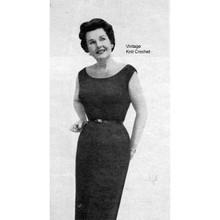 Straight dress knitting pattern, sleeveless, scoop neck