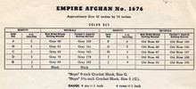 Empire Afghan Crochet Material Requirements Chart